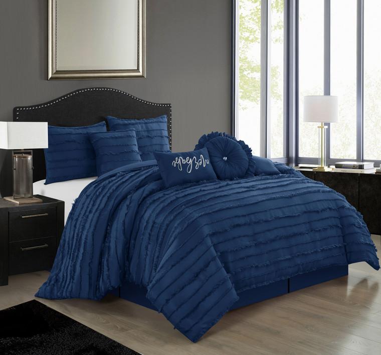 Martel Navy Blue 7-Pc. Comforter Set