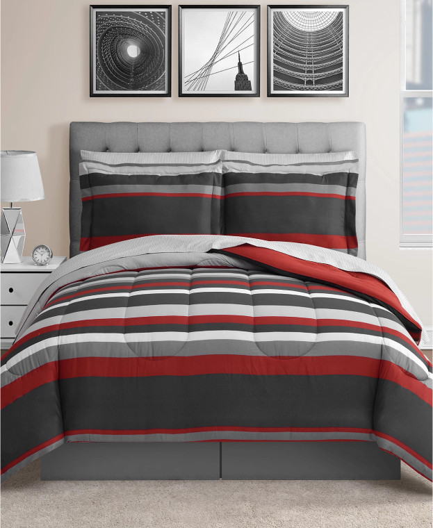 Red and Gray 8-Pc. Reversible Comforter Set- Clearance!