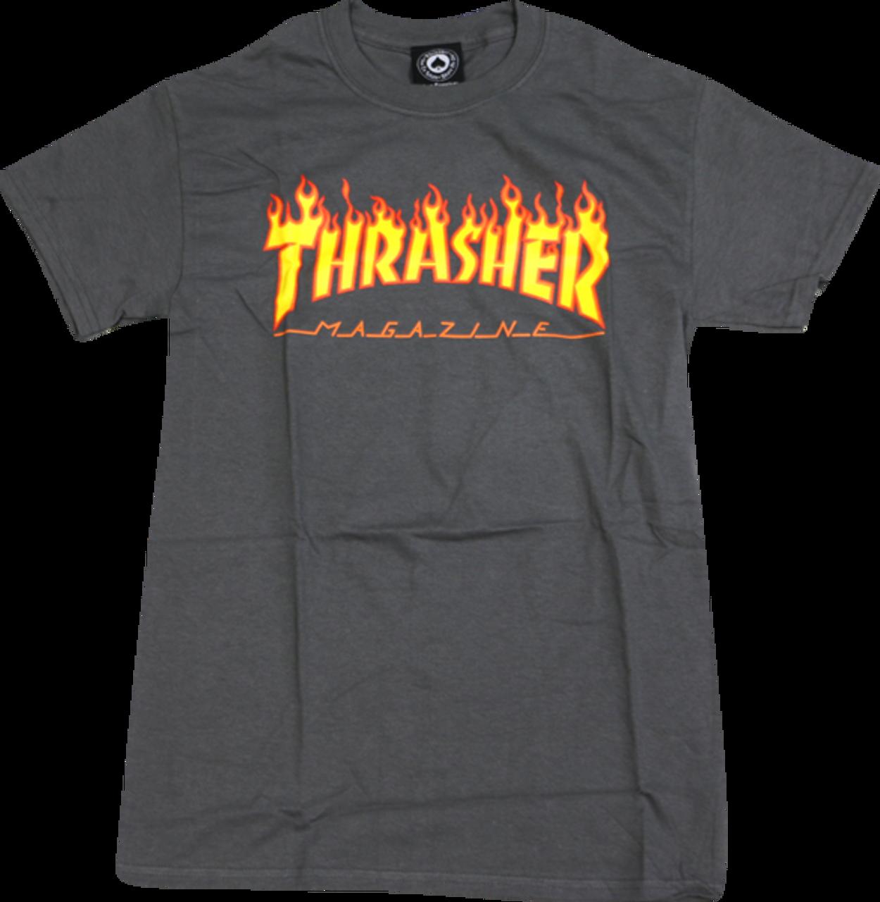 cfdbf35128c2 Chargement Source · THRASHER FLAME T Shirt Charcoal