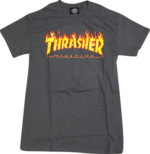 THRASHER FLAME T-Shirt (Charcoal) Size Medium
