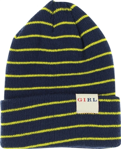 GIRL STRIPED FOLD BEANIE NAVY/YELLOW