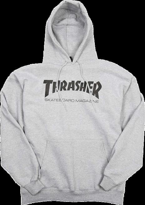 THRASHER SKATE MAG HOODIE GREY/BLACK Size Large