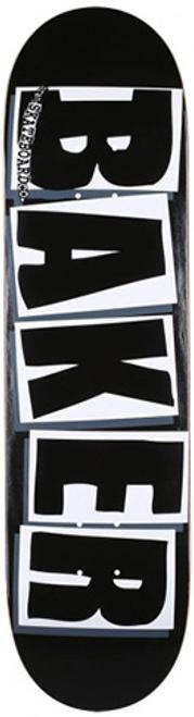 """BAKER 8.25"""" TEAM BRAND LOGO BLACK/WHITE DECK"""