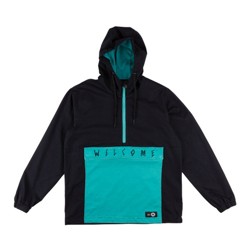 WELCOME SCRAWL GARMENT-DYED TWILL ANORAK - BLACK/TEAL