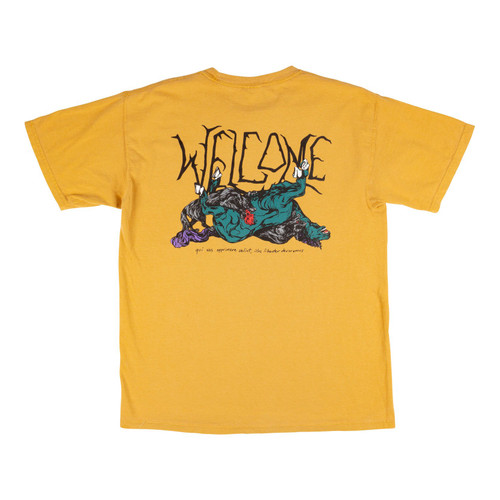 WELCOME GOODBYE HORSES GARMENT-DYED TEE - GOLD