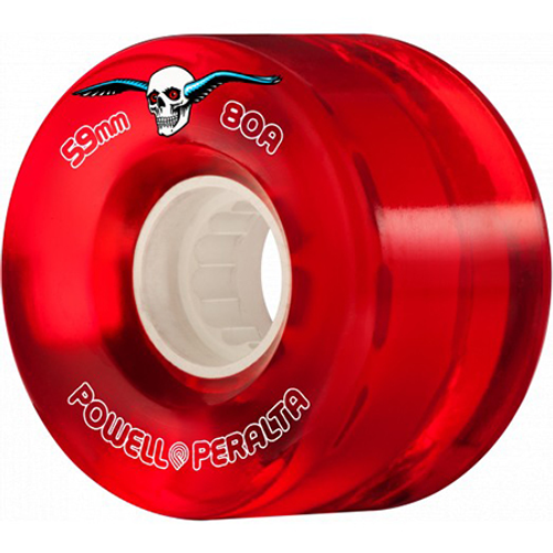 POWELL 59MM CLEAR RED CRUISER WHEEL 80A (Set of 4)