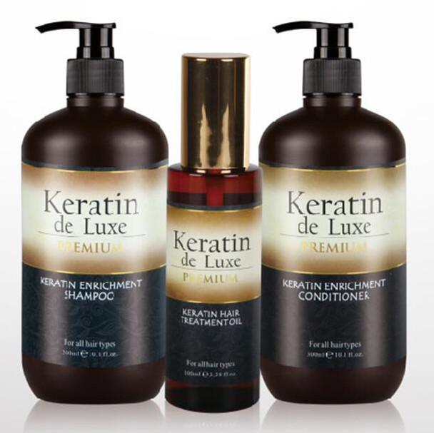 Keratin Premium Shampoo,  Conditioner & Oil Set All Hair Types 500 ml