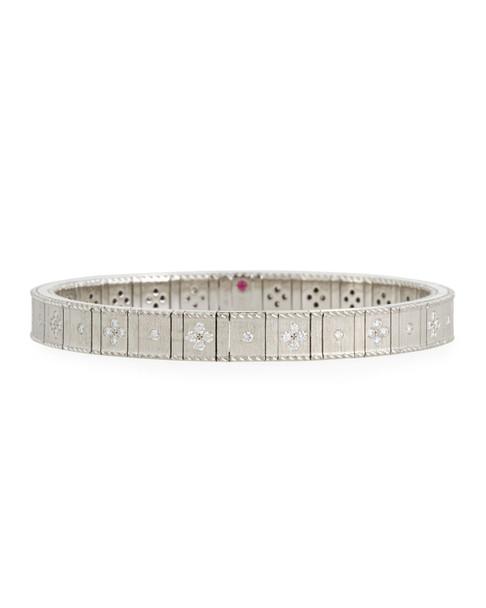 Roberto Coin 18k Gold Flexible Diamond Princess Bracelet | White Gold