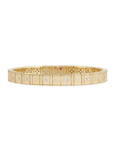 Roberto Coin 18k Gold Flexible Diamond Princess Bracelet | Yellow Gold