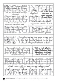 One A4 sheet of sayings or quotes based on Things with wings theme. We have used Acid free paper, this is printed on plain matt white card, but can be inked, or sprayed to match your projects. It is very good for tearing, and with clear boxes, trimming is made easy. Printed here in New Zealand. can be used for scrap booking, card making, art journaling or off the page projects.