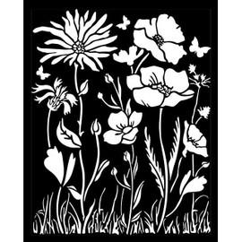Stamperia Stencil - Atelier Poppy and Flower 20cm x 25cm