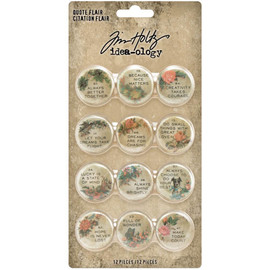 Idea-Ology Quote Flair Buttons 12/Pkg by Tim Holtz