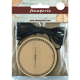 Stamperia Round Tags and Black String set 20