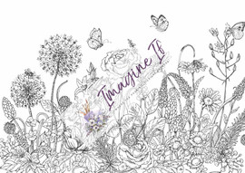 Giant Colouring In Poster: Floral landscape 1