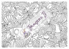 Giant Colouring In Poster #7 - Mermaid & Merunicorns