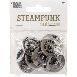 Blumenthal Steampunk Buttons 9 pk Compass silver
