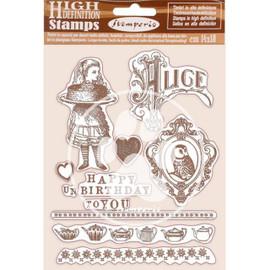 Stamperia Rubber Stamps - Happy Birthday Alice 14cm x 18cm
