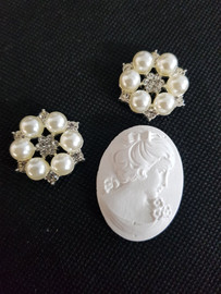 Plaster Cameo and two pearl embellishments