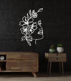 Lasercut Acrylic Wall Art - Woman and Leaves - Keira