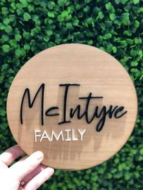 Lasercut Family Name Wall Plaque