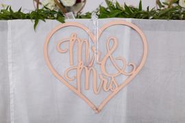 Lasercut Mr and Mrs Heart