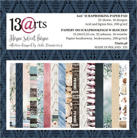 """13 @rts Paper pad HOME SWEET HOME 6x6 """""""