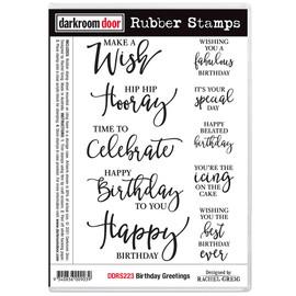 Darkroom Door Rubber Stamp Set - Birthday Greetings