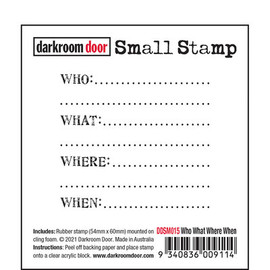 Darkroom Door Rubber Stamp - Who what when where