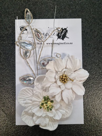 Set of 2 White Flowers with Bling