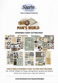 3Quarter Designs Ephemera Packs: Mans World  12x A5 Pages of coordinating designs that can be fussy cut to add dimension to your projects! Acid free paper 300gsm  holds its shape and can take mixed media products well!
