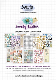3Quarter Designs Ephemera Packs 12x A5 Pages of coordinating designs that can be fussy cut to add dimension to your projects! Acid free paper 300gsm  holds its shape and can take mixed media products well!