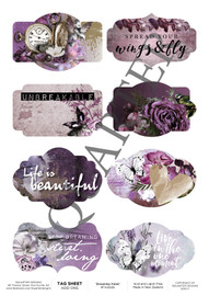 3Quarter Designs Tag Sheet Dreaming Violet  3Quarter Designs presents TAGS Add On's! A4 (210 x 297mm) 300gsm card stock Acid and lignin free Designed and Printed in New Zealand These printed designs are suitable for all types of paper crafts in a range of shapes and sizes that include images and quotes and can be used on a number of projects! Add them onto your cards, scrapbook layouts, mini albums and off the page or use them on your art journal pages. They are a great Add On product with many uses -on your cards they can be a feature or a matt for your focus piece. Add them onto your layouts as a quote, a photo matt or tucked as an added layer, you can also fussy cut them and be used as paper embellishments!