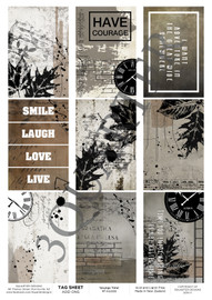 3Quarter Designs Tag Sheet Grunge Time  3Quarter Designs presents TAGS Add On's! A4 (210 x 297mm) 300gsm card stock Acid and lignin free Designed and Printed in New Zealand These printed designs are suitable for all types of paper crafts in a range of shapes and sizes that include images and quotes and can be used on a number of projects! Add them onto your cards, scrapbook layouts, mini albums and off the page or use them on your art journal pages. They are a great Add On product with many uses -on your cards they can be a feature or a matt for your focus piece. Add them onto your layouts as a quote, a photo matt or tucked as an added layer, you can also fussy cut them and be used as paper embellishments!