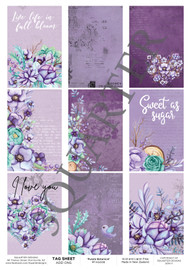 3Quarter Designs Tag Sheet Purple Botanical  3Quarter Designs presents TAGS Add On's! A4 (210 x 297mm) 300gsm card stock Acid and lignin free Designed and Printed in New Zealand These printed designs are suitable for all types of paper crafts  in a range of shapes and sizes that include images and quotes and can be used on a number of projects! Add them onto your cards, scrapbook layouts, mini albums and off the page or use them on your art journal pages. They are a great Add On product with many uses -on your cards they can be a feature or a matt for your focus piece. Add them onto your layouts as a quote, a photo matt or tucked as an added layer, you can also fussy cut them and be used as paper embellishments!