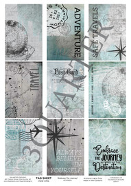 3Quarter Designs Tag Sheet Embrace The Journey  3Quarter Designs presents TAGS Add On's! A4 (210 x 297mm) 300gsm card stock Acid and lignin free Designed and Printed in New Zealand These printed designs are suitable for all types of paper crafts in a range of shapes and sizes that include images and quotes and can be used on a number of projects! Add them onto your cards, scrapbook layouts, mini albums and off the page or use them on your art journal pages. They are a great Add On product with many uses -on your cards they can be a feature or a matt for your focus piece. Add them onto your layouts as a quote, a photo matt or tucked as an added layer, you can also fussy cut them and be used as paper embellishments!