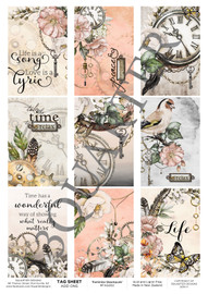 3Quarter Designs Tag Sheet Feminine Steampunk  3Quarter Designs presents TAGS Add On's! A4 (210 x 297mm) 300gsm card stock Acid and lignin free Designed and Printed in New Zealand These printed designs are suitable for all types of paper crafts  in a range of shapes and sizes that include images and quotes and can be used on a number of projects! Add them onto your cards, scrapbook layouts, mini albums and off the page or use them on your art journal pages. They are a great Add On product with many uses -on your cards they can be a feature or a matt for your focus piece. Add them onto your layouts as a quote, a photo matt or tucked as an added layer, you can also fussy cut them and be used as paper embellishments!