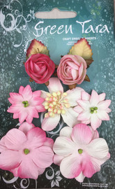 Green Tara Rustic flowers set 7 pink