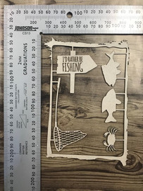 """""""Id Rather be fishing"""" Set plus frame -Chipboard"""