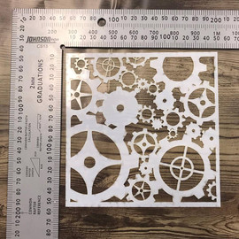 Imagine If Stencil - Steampunk Cogs