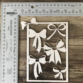 Bow Frame and bows set of 5 -Chipboard