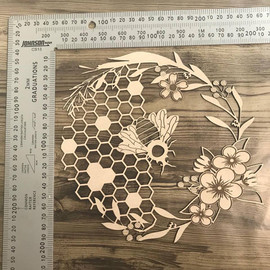 Bee and honey comb etched design-Chipboard
