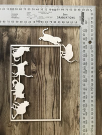 Cat Frame with 4 extra Cats -Chipboard