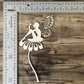 Fairy on a Flower -Chipboard