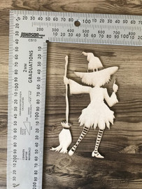 Standing Witch With Broom -Chipboard