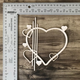 Hollow heart Design with Lines and mini Heart -Chipboard
