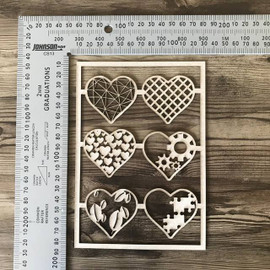 Eclectic Hearts set of 6 -Chipboard