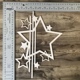 Hollow Star Design with Lines and mini stars -Chipboard