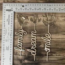Family, Dream, Smiles Flower Words Set - Chipboard