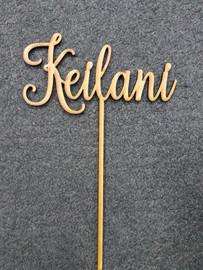 Custom Name MDF Topper  Simply decorate this MDF design however you like - paper, paint, glitter, embossing powder or leave it as is! Addition of Gold or Silver Glitter is an Additional $5 - purchase the additional glitter listing for this option.  150mm wide is the Standard Size  Note: Wrap the sticks in foil or cling wrap before putting into the cake to avoid the MDF from going soggy. If you need this design smaller or larger to fit your cake size, let us know and we can resize it. We also produce custom designs - see the custom design listing for this option.