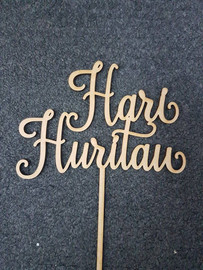 Hari Huritau (Happy Birthday in Te Reo) Cake Topper MDF Simply decorate this MDF design however you like - paper, paint, glitter, embossing powder or leave it as is! Addition of Gold or Silver Glitter is an Additional $5 - purchase the additional glitter listing for this option. 150mm wide is the Standard Size Note: Wrap the sticks in foil or cling wrap before putting into the cake to avoid the MDF from going soggy. If you need this design smaller or larger to fit your cake size, let us know and we can resize it. We also produce custom designs - see the custom design listing for this option.